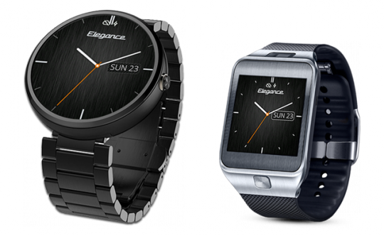 Elegance Watch Face on Moto 360 and Samsung Gear 2