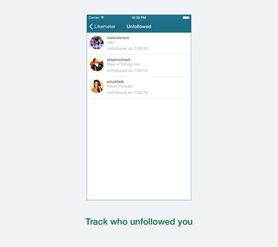 Likemeter track unfollowers on Instagram